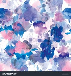 Seamless pattern of pink and blue  watercolor blots for background.