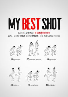 My Best Shot is a Darebee high-burn, aerobically intensive workout that will make you sweat. Darbee Workout, Full Body Bodyweight Workout, Full Body Workout At Home, Hiit Workout At Home, Gym Workout Videos, Weight Training Workouts, Boxing Workout, Running Workouts, At Home Workouts