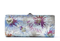 Judith Leiber Multicolor Flowers Airstream Minaudiere Crystal Clutch Bag