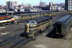 Trio of Alco's and a Fairbanks Morse unit. Unk location, maybe Providence.