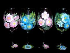 Hand painted Wine glasses . Made to Order