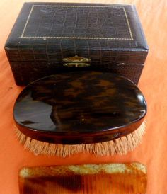Tortoise Shell - Gentleman's Brush and Comb, with Crocodile Skin Box