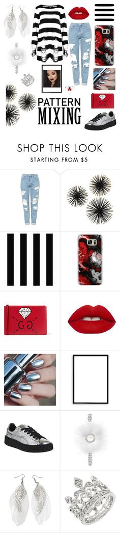 """""""Pattern Mixing:  Red, Black and White"""" by niqueyboop ❤ liked on Polyvore featuring Topshop, Killstar, Casetify, Gucci, Lime Crime, Bomedo, Puma, Fendi and Bling Jewelry"""