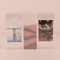 """Clearly Love"" Sand Ceremony Shadow Box with Photo Frames - Weddingstar"