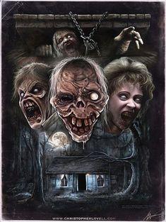 "Horror Movie Art : ""Evil Dead II"" by Christopher Lovell Evil Dead Trilogy, Evil Dead Movies, Terror Movies, Scary Movies, Ghost Movies, Horror Icons, Horror Movie Posters, Movie Poster Art, Crane"