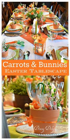 Carrots & Bunnies Easter Tablescape For my Easter tablescape this year, I carried the colour scheme and carrots & bunnies theme from the décor on my sideboard onto the table. Easter Table Settings, Easter Table Decorations, Decoration Table, Easter Decor, Easter Centerpiece, Spring Decorations, Easter Dinner, Easter Brunch, Deco Table