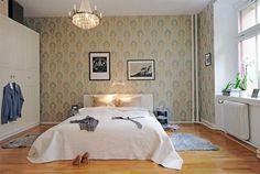 bedroom wallpaper decorating hardwood flooring ceiling lamp