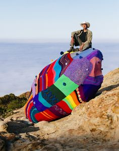 Knitting Psychedelic Day Dreams Behind the Scenes with Santa Barbara's Yarn Bomber >>Actually, this looks crochet to me.