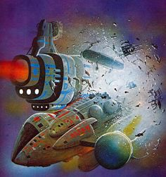 Uncredited. Angus McKie perhaps.  spaceships space explosion science fiction art angus mckie