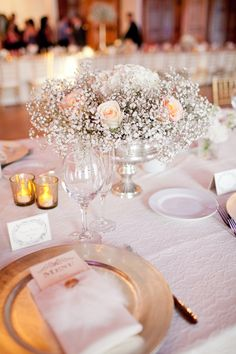 Roses and Babys Breath in Silver Bowl   photography by http://lovejanetphoto.com/