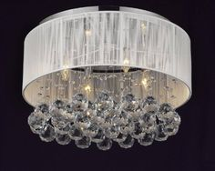 Flushmount 4light Chrome and White Shade Crystal Chandelier Chandeliers Lighting -- For more information, visit image link.