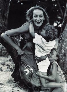Jerry Hall and her children James and Elizabeth Jagger in Vogue, May 1991.