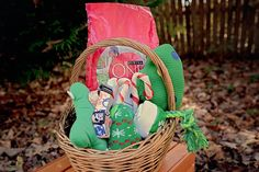 Easy DIY Holiday Dog Gift Basket via @bysarahhalstead. Contents: @PurinaONEDog SmartBlend food, fun and colorful dog collar, dog rope pull toy, squeaky dog toys, candy cane rawhide chews. #OneSmartDifference #ad