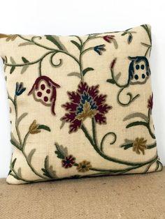 Crewel Fabric Pillow flower pillow red pillow blue by RoomKandi