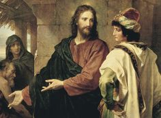 A man in fine clothing standing in a disinterested stance while Christ indicates those who are in need.