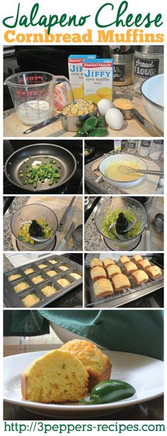 Jalapeno cheese cornbread muffins recipe - Made with frozen corn and fresh jalapenos