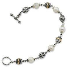 Sterling Silver with 14k Yellow Gold 8-8.5mm Freshwater Cultured Pearl 8in Bracelet Jewelry Pot. $397.99. Fabulous Promotions and Discounts!. 100% Satisfaction Guarantee. Questions? Call 866-923-4446. 30 Day Money Back Guarantee. Your item will be shipped the same or next weekday!. All Genuine Diamonds, Gemstones, Materials, and Precious Metals. Save 46% Off!