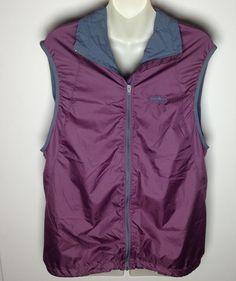 Patagonia Maroon & Black Lightweight Athletic Vest L Large Zippered Mens Zip Up #Patagonia