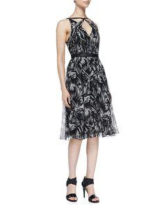 Jason Wu Botanical Crinkled Silk Dress, Women's, Size: 10, Black