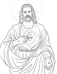 Sacred Heart Catholic Coloring Page Angel Coloring Pages, Colouring Pages, Adult Coloring Pages, Coloring Books, Catholic Crafts, Catholic Kids, Jesus Drawings, Cool Drawings, Religious Images
