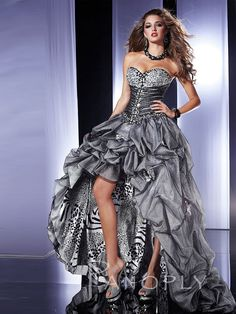 59708fcd320 Strapless Silver Tulle and Leopard Print High-Low Prom Dress