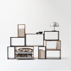 MGX by Materialise Box - A multifunctional range of boxes ideal for many purposes such as lounge sofa tables, side tables or as shelf systems for wall mounting. Shelf System, India Colors, Grey Stain, Wall Storage, Storage Ideas, Black Stains, Lounge Sofa, Sofa Tables, Boconcept