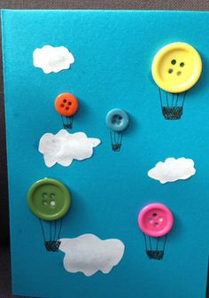 How cute is this! Who'd have thought you could use buttons for Hot Air Balloons?!