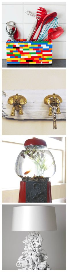 Transform all of those old toys into decorative home decor.