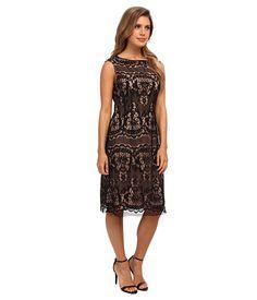 Adrianna Papell Romantic Lace Dress Black - 6pm.com
