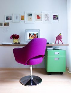 love the way photos are hung. LOVE the green file cabinet