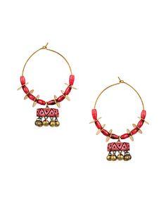 Hoop Earrings with Terracotta Jhumka Drop