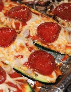 Zucchini Pepperoni Pizza | Slender Kitchen