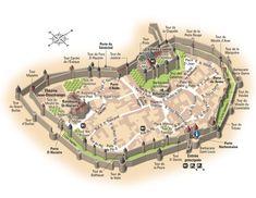 Cité de Carcassonne / Medieval city of Carcassonne. Created by Hugues Piolet for Guides Bleus Hachette.