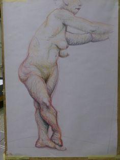 Žena na jedné noze, pastel