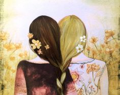 """Friendship is a single soul dwelling in two bodies."" Art by Claudia Tremblay Best Friend Drawings, Bff Drawings, Vintage Art Prints, Fine Art Prints, Claudia Tremblay, Sibling Gifts, Sisters Art, Three Sisters, Friend Pictures"