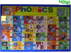 Phonics display from ABC Does website. Each sound matching the first sound of a child's name or if no child something they like e.g. Dora the explorer