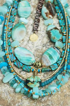 Gorgeous Sea Glass, Turquoise, Blue Agate, Bronze Pearl and Gold Neckl   XO Gallery