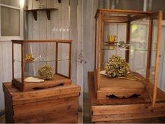 жdenbeeж古い木枠の卓上ガラスケース/収納棚/ケース/アンティーク_画像1