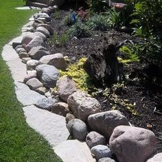 Rock Edging Three Deep - front yard landscaping ideas with rocks Diy Garden, Landscaping Tips, Outdoor, Landscape Design, Outdoor Gardens, Landscaping With Rocks, Diy Garden Bed, Landscape, Landscape Edging