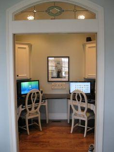 Kids computer room off kitchen with pocket door