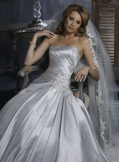 A-line Strapless Chapel Train Charming Satin wedding dress