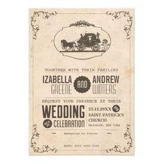 Vintage Love Carriage Wedding Invitation