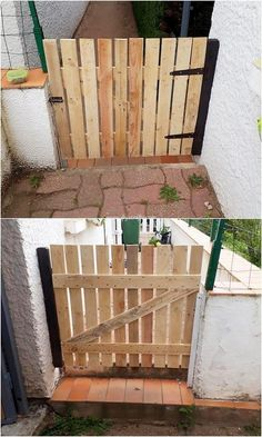 This is another one of the classy designed wood pallet garden gate piece work where you would prominently be finding the fabulous gate design that would be bringing out the taste of attractiveness in the whole garden area. Diy Gate, Diy Baby Gate, Tor Design, Gate Design, Pallets Garden, Wood Pallets, Diy Pallet Projects, Wood Projects, Pallet Ideas