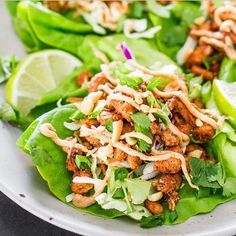 JAMAICAN JERK CHICKEN LETTUCE WRAPS by @jocooks  Follow @JoCooks and visit her blog! Link in her bio.  Serves: 4  INGREDIENTS 8 lettuce leaves, I used Boston lettuce, but iceburg lettuce works 2 chicken breasts, cut into small pieces 1 to 2 tbsp Jamaican jerk seasoning (store bought or recipe follows) ¼ cup peanuts, chopped 3 green onions, chopped 2 cups coleslaw mix ¼ cup cilantro, roughly chopped 1 lime cut in slices  Sauce ⅓ light cup mayonnaise (can sub Greek yogurt for healthier option)…