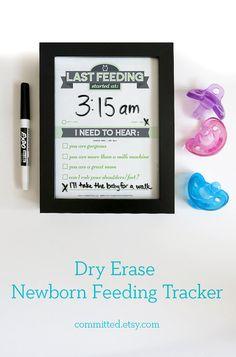 Dry erase newborn feeding tracker for new moms. Baby shower gift.