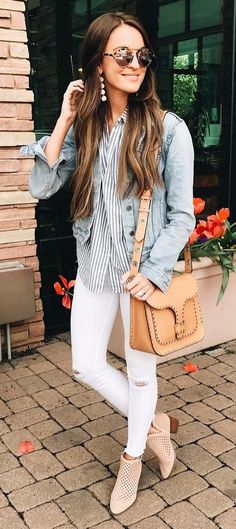 cute outfit idea / bag + shirt + skinnies