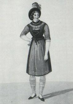 Mädchen aus Tegernsee, kolorierter Stich von Gatine um 1790/1800