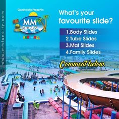 #MMFunCity What's your favourite slide?  1.Body Slides  2.Tube Slides  3.Mat Slides  4.Family Slides  Comment below.