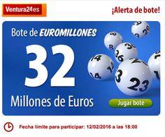 ¡Peña Euromillones!  ¡Regístrate en Ventura24.es!  ¡Bote de 32 millones de euros!