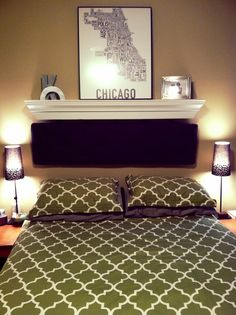 Diy Headboard Painted Wood Crown Molding With Bench Cushion Hanging From Repurposed Drawer Handles